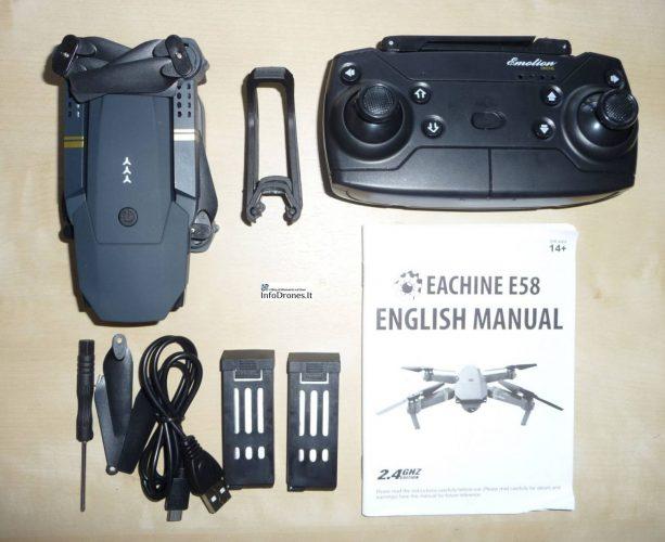 confezione Eachine e58- drone clone dji mavic pro