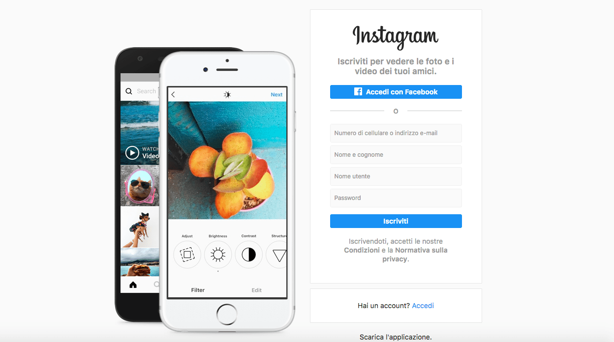 come creare account Instagram