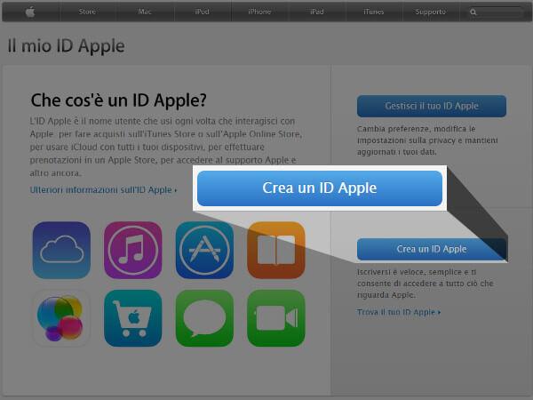 come creare account apple