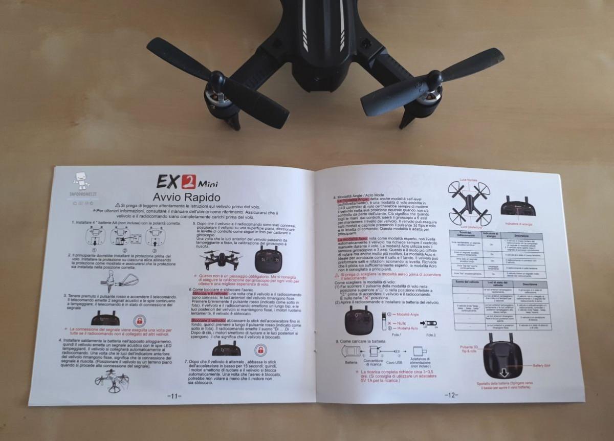 recensione Eachine Ex2 mini manuale
