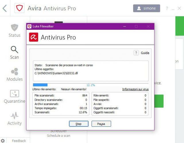 AVIRA antivirus Pro scan 2