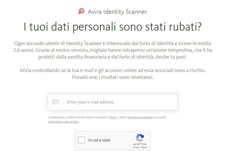 AVIRA identity scanner