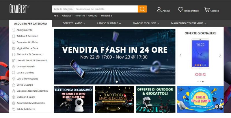 Siti vendita Online Cinesi gearbest