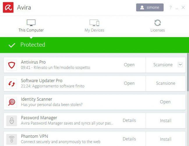 recensione AVIRA antivirus suite-foto