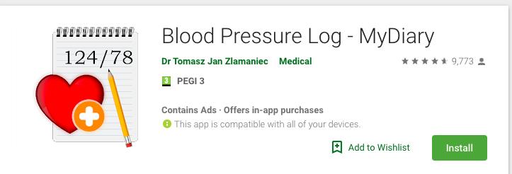 Blood Pressure Log – MyDiary
