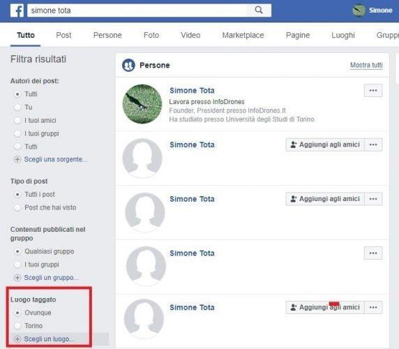 come cercare una persona su facebook per città