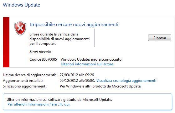 impossibile cercare nuovi aggiornamenti windows 7
