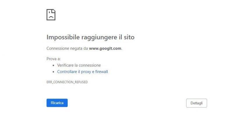 impossibile visualizzare una pagina web per errore di digitazione