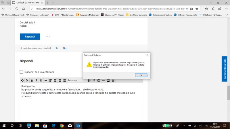 Impossibile avviare Microsoft Outlook