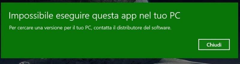 Impossibile eseguire questa App dal tuo PC