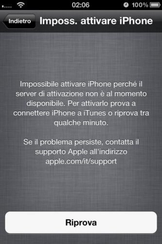Impossibile attivare iPhone