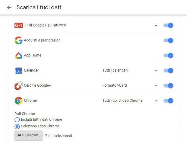 come salvare solo alcuni dati google+