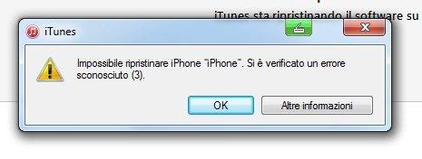 Impossibile ripristinare iPhone