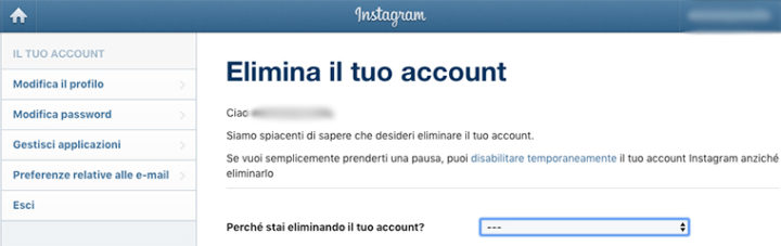 Come eliminare account Instagram-2