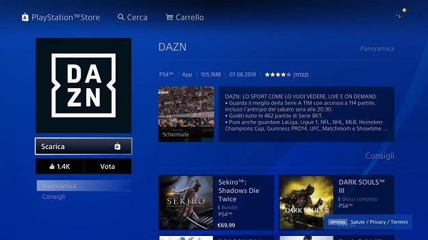 come scaricare DAZN su PS4 -2