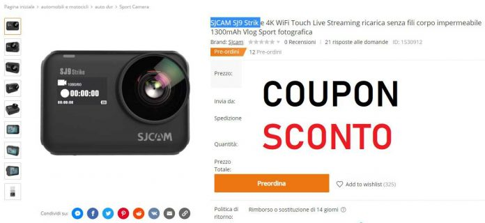 SJCAM sj9 strike coupon banggood