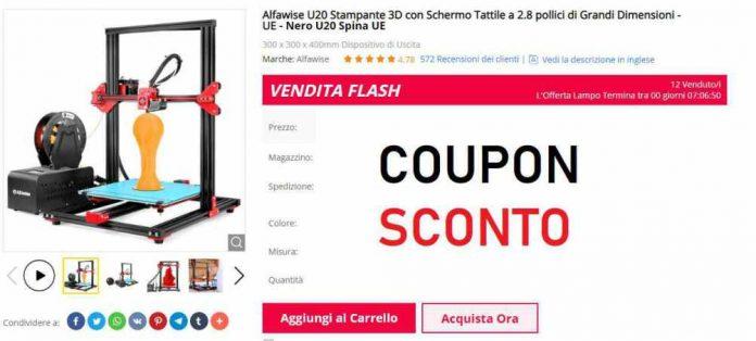 Stampante 3D Alfawise U20 Coupon Gearbest-Offerta
