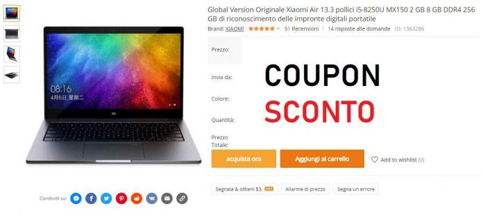 Xiaomi air 13 coupon banggood