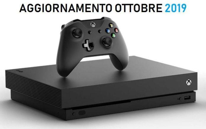 xbox one aggiornamento ottobre 2019