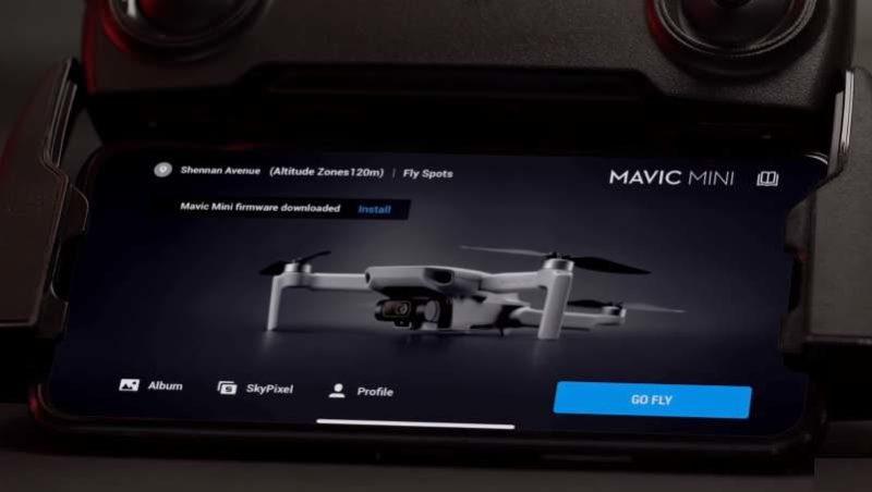 aggiornamento firmware dji mavic mini con dji fly app