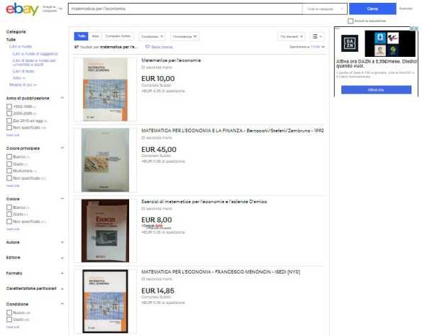 acquistare libri su ebay